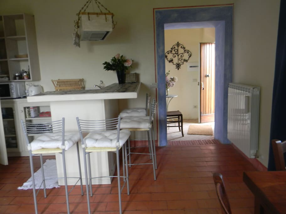 the kitchenette in the living room