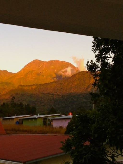 Morning view to Volcan Baru from bed