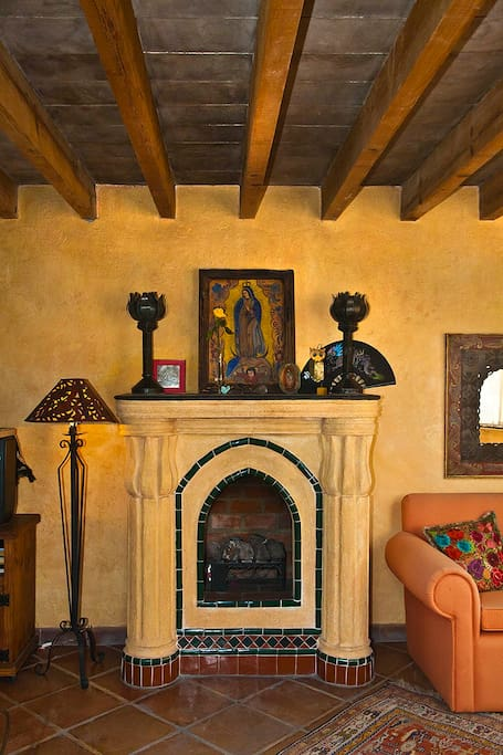 Fireplace with gas heater and our Virgin de Guadalupe