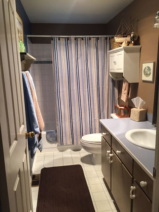 Clean and well set up bathroom/possibly shared.