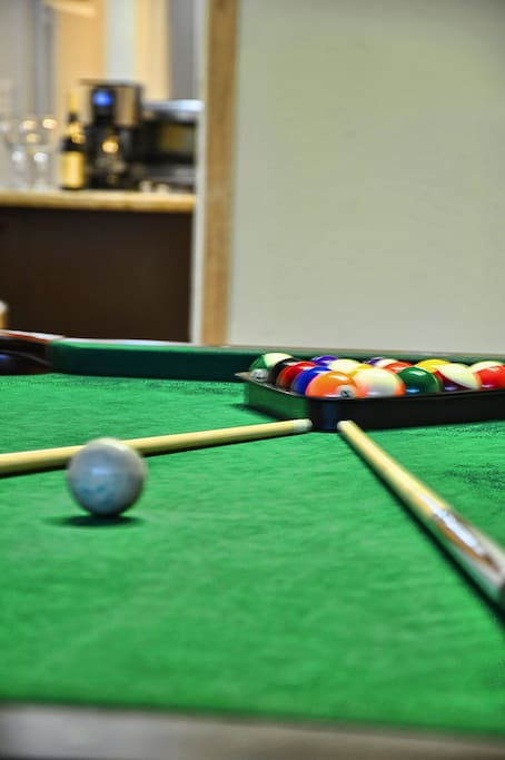 Enjoy the pool table when at home.