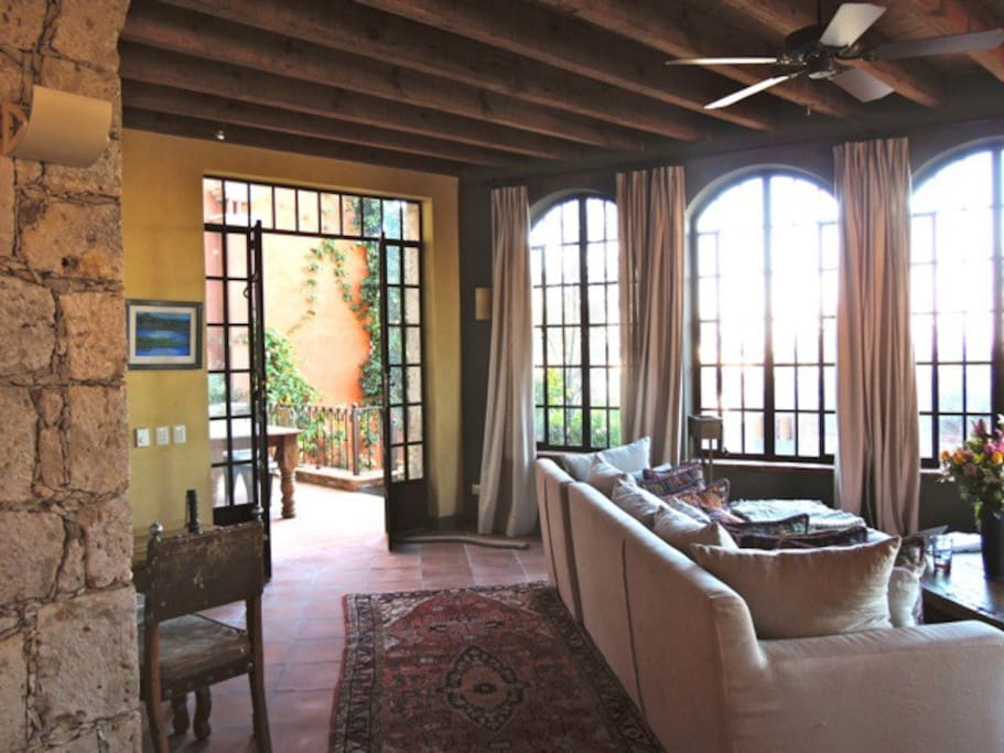 living room and terrace view