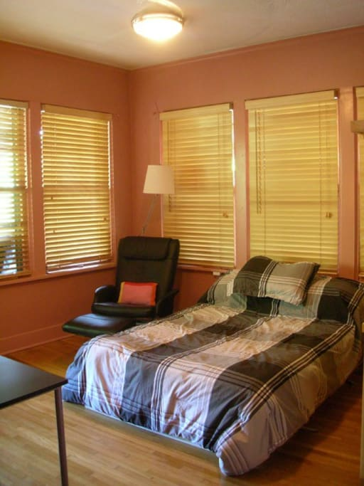 Double Bed, Easy Chair, Desk and Closet space - single $50/night, two $55/night