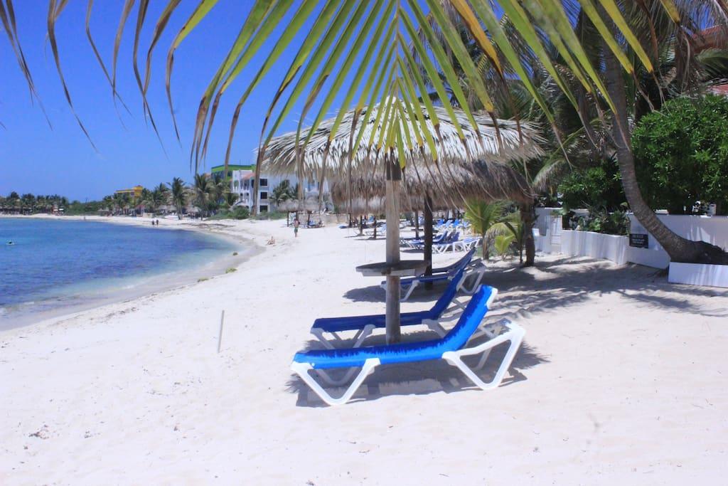 Beach in front of Villa