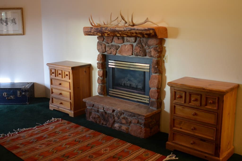 The Deer Suite fireplace.