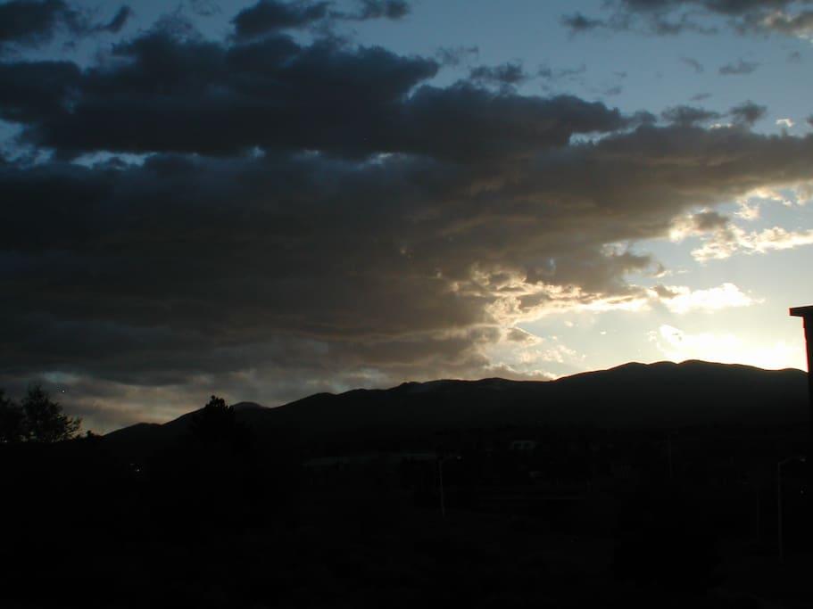Morning sunrise over the Sangre Mountains and Santa Fe Ski Basin