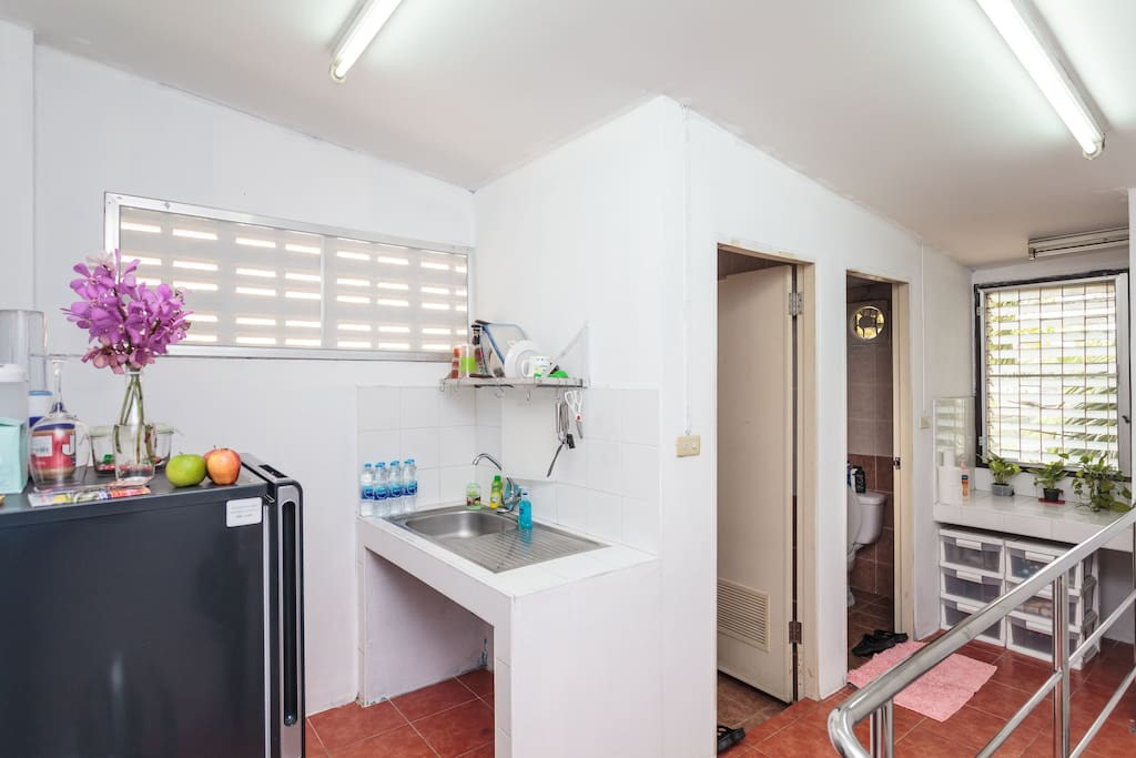 Feel at home using the kitchen and bathroom areas.