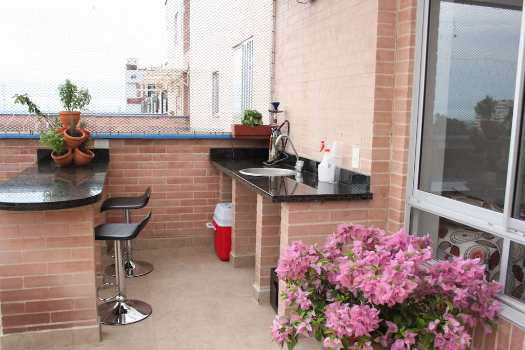 you can always prepare and cook your meals outside too - the weather is great for it