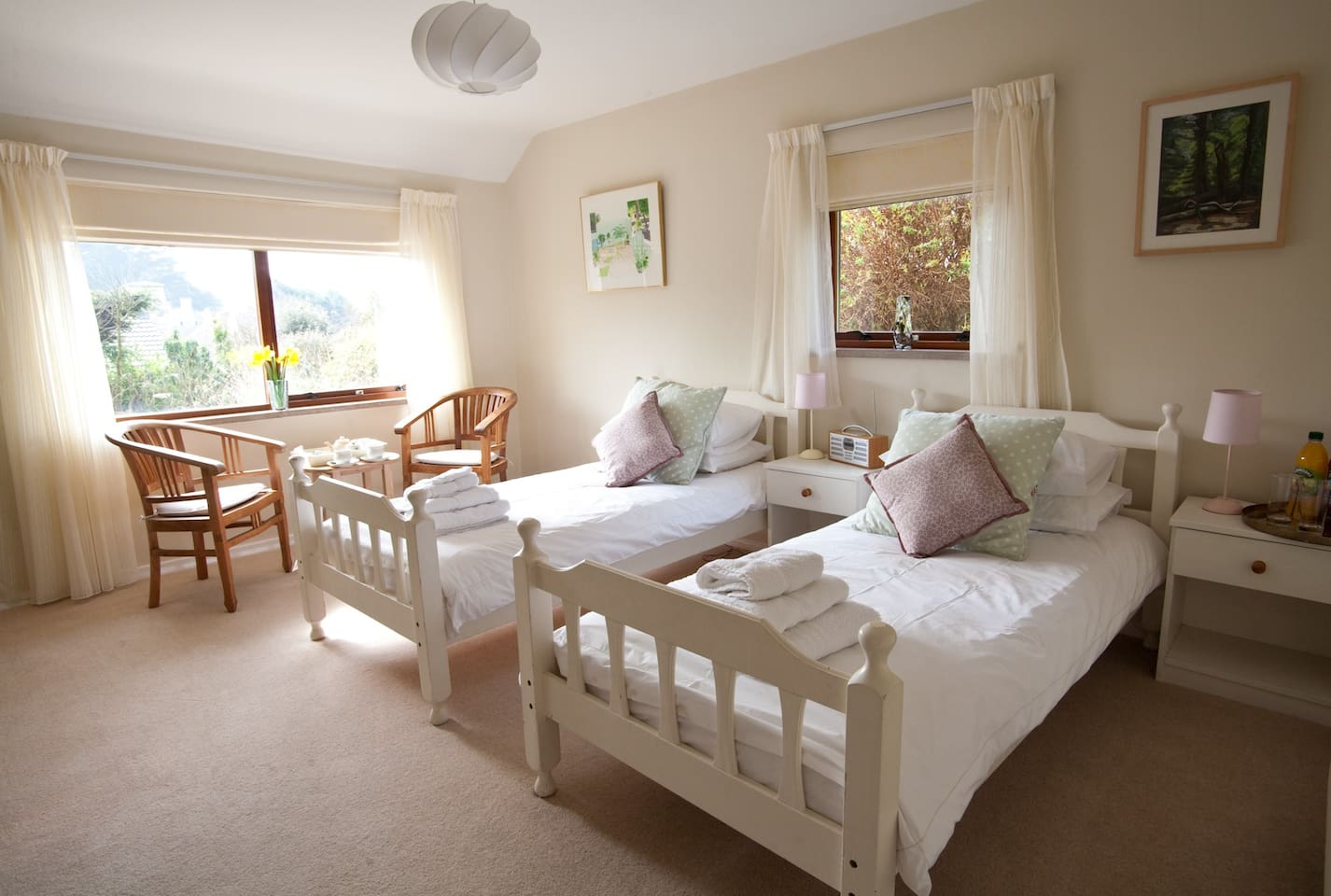 Spacious and comfortable twin room with garden view