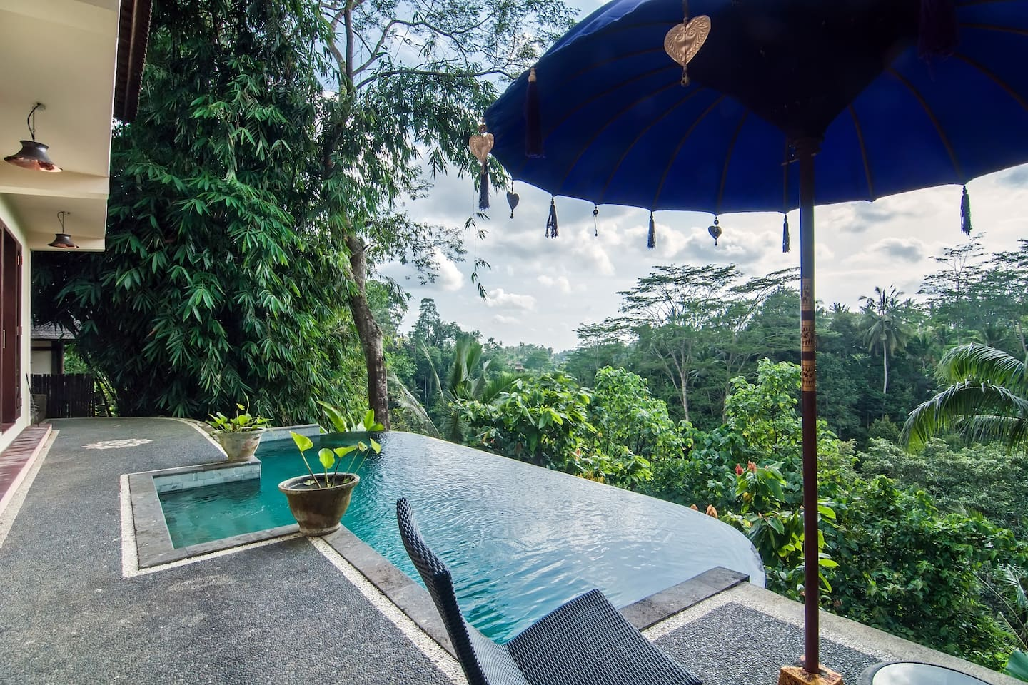 Jungle , river views from the private infinity  edge pool