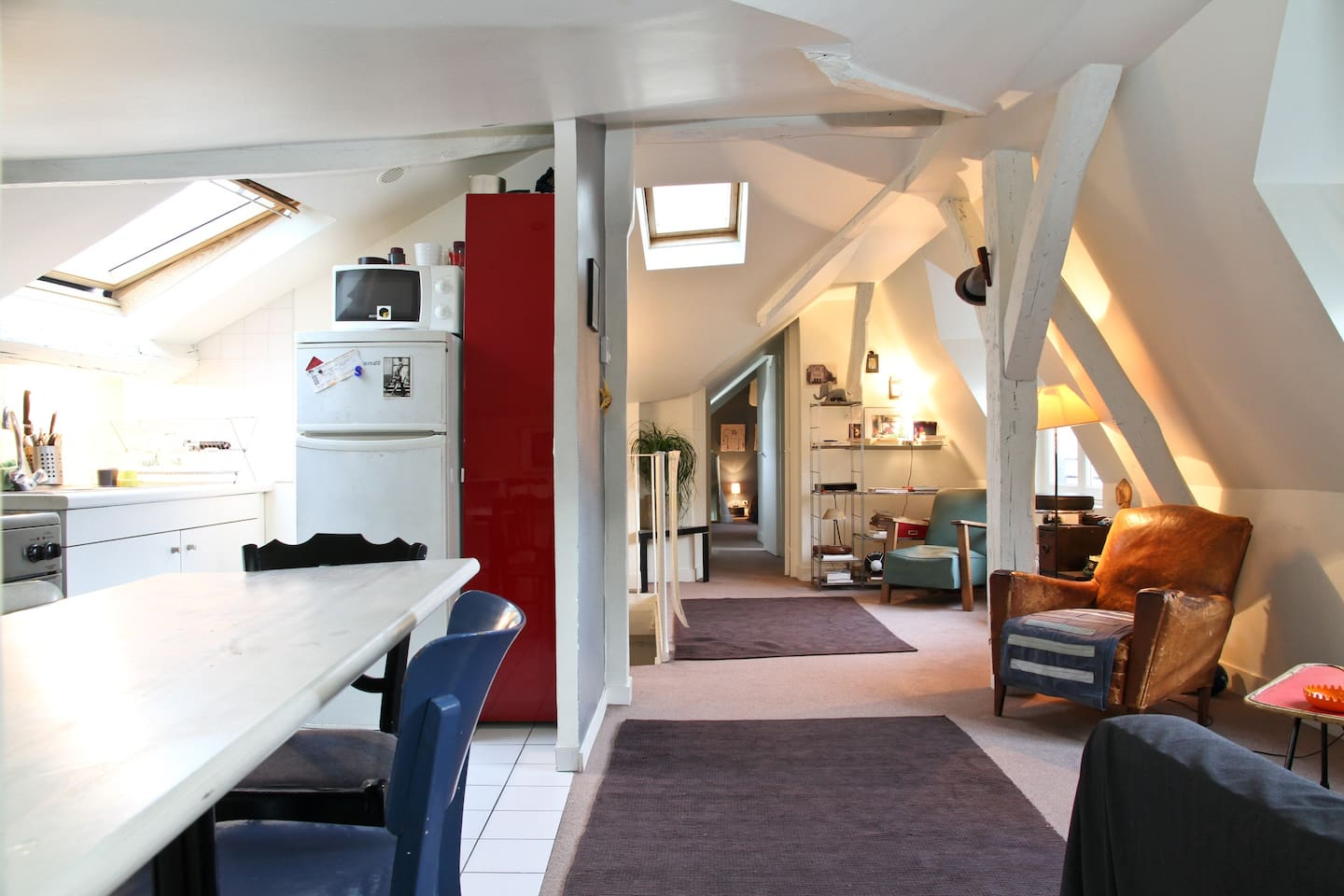 Large room in flat under the roof