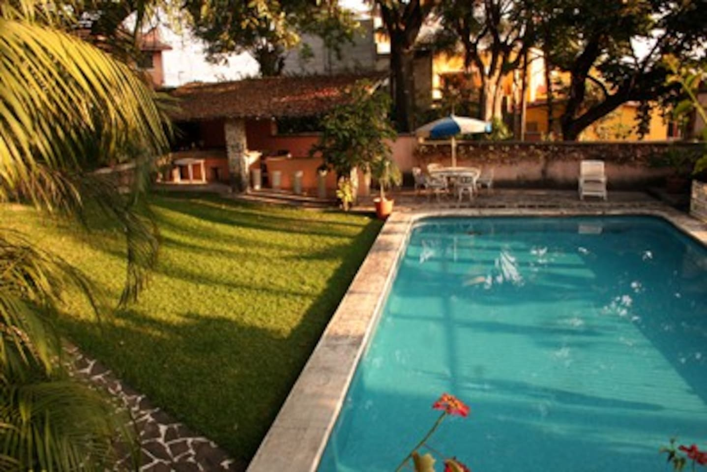 Our swimming pool and BBQ area