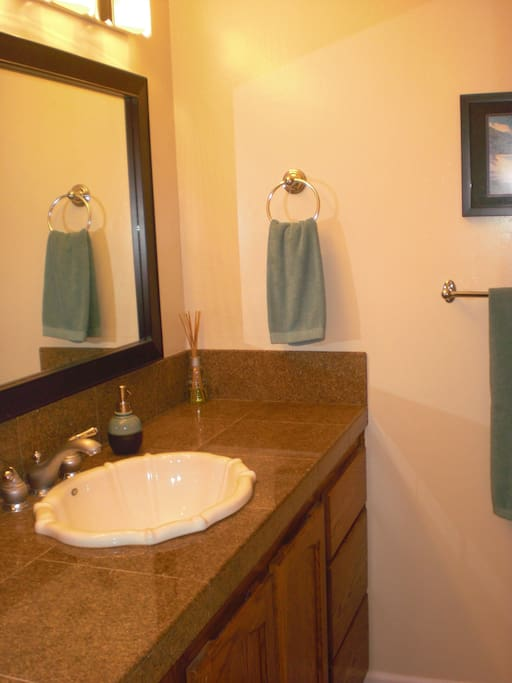 Master bathroom with shower.  Bath towels provided.
