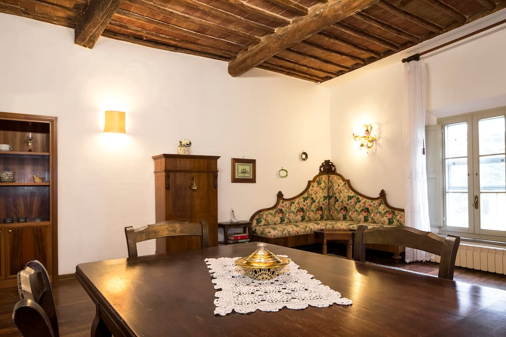 Dining-roomof the apartment on the last floor of the villa