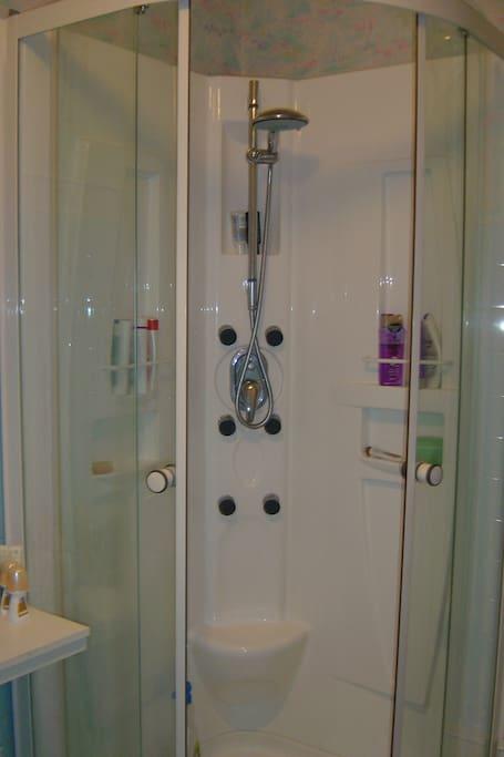 Modern shower & bathroom.