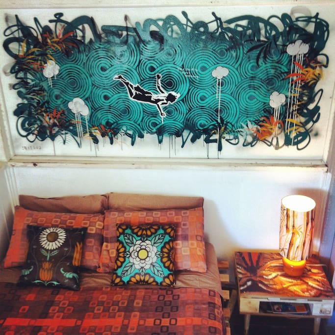 The Double Bed & a newly painted artwork by Nitsua