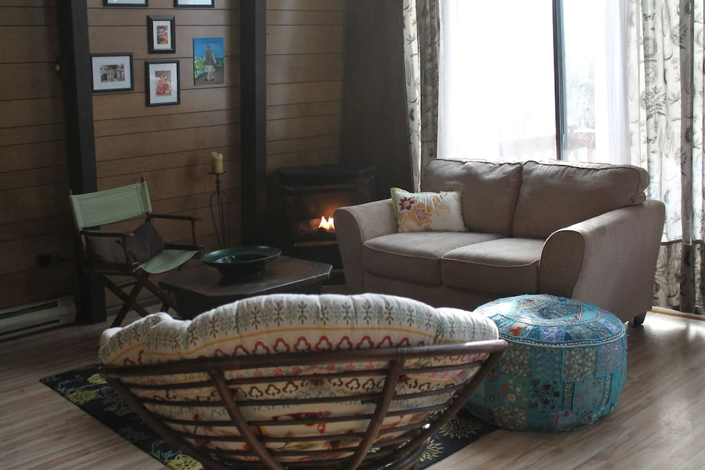 Cozy accommodations with fireplace.