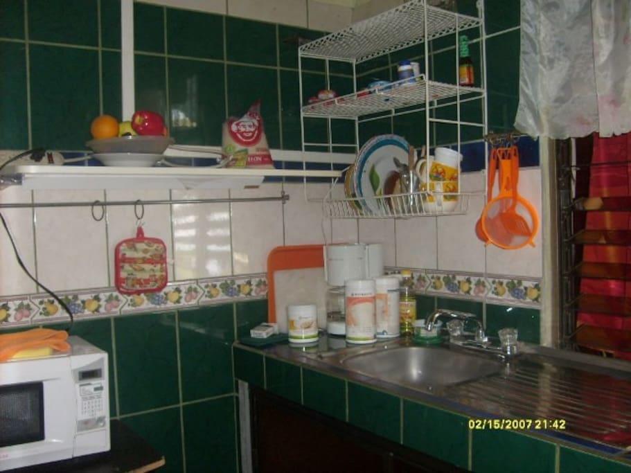 cocina amueblada e equipada,