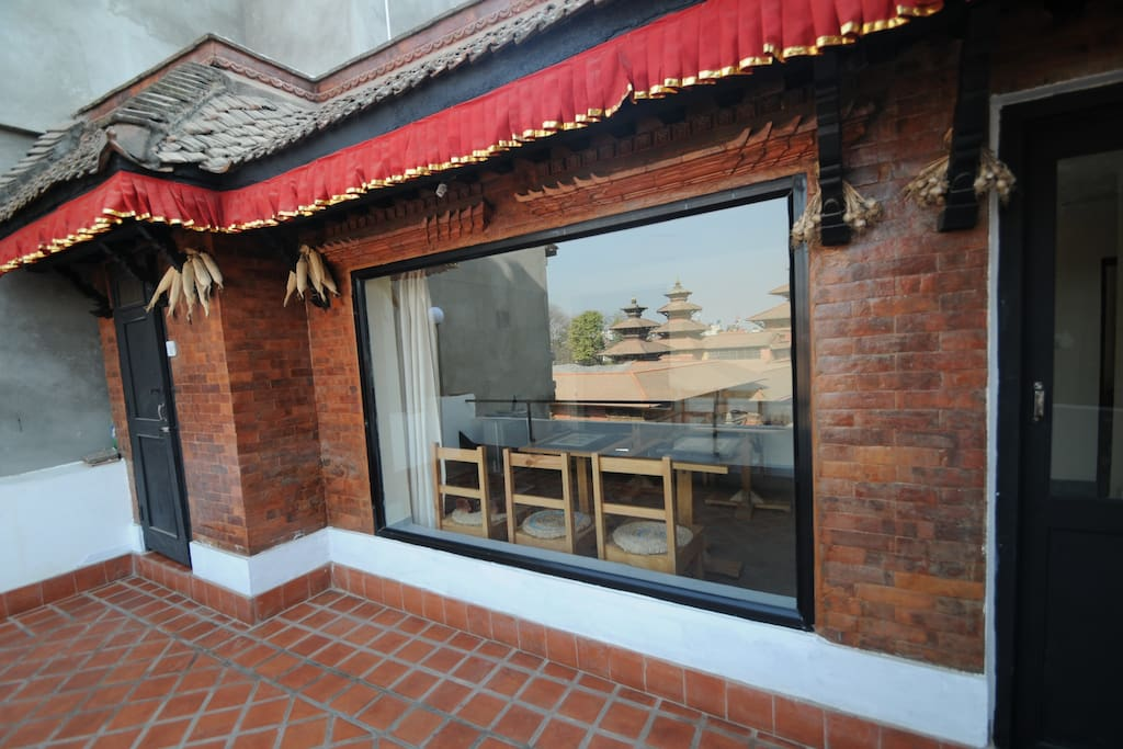 Terrace in front of the small rooms facing the Patan Dubar Square.