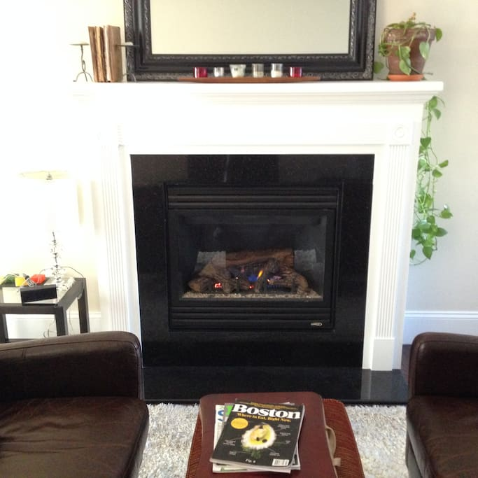 Gas Fireplace and Leather Chairs
