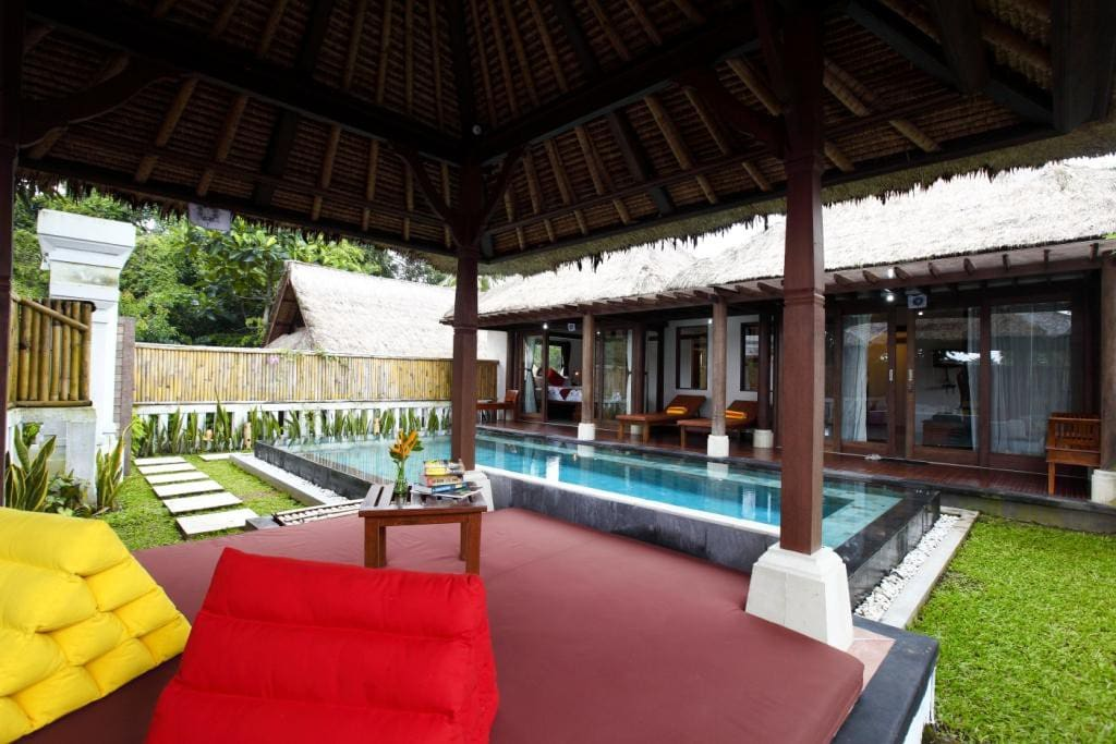 Villa Prema Sari from the outside. It shares the pool with Villa Prema, which is adjacent. The gazebo is great for a massage