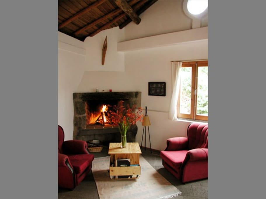 Inside with fireplace