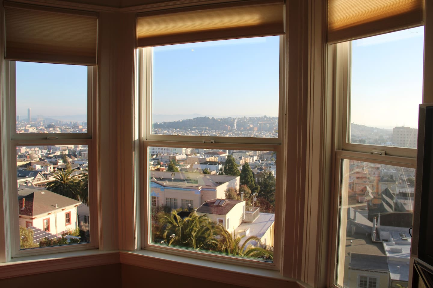 View from the bay windows eastward towards downtown, AT&T Park, San Francisco Bay, East Bay and Potrero Hill