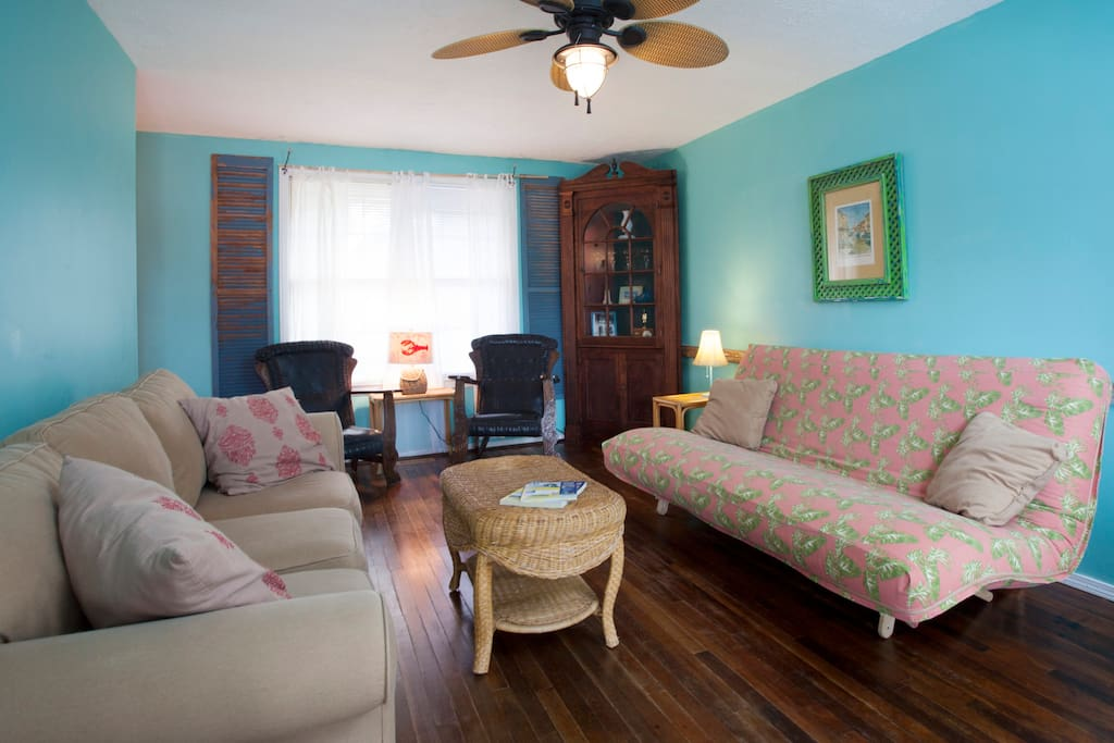 Large living room in two bedroom side with futon and sofa and TV.