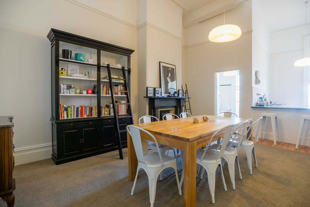 Large dining table, seats 8.
