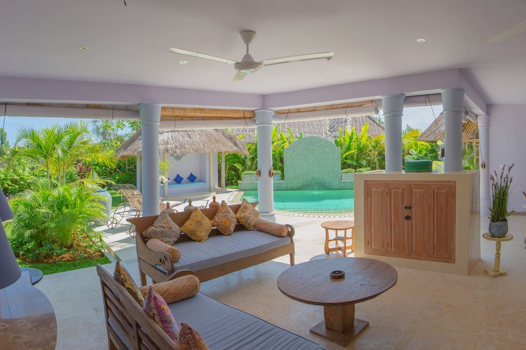 Open plan living with views to pool.