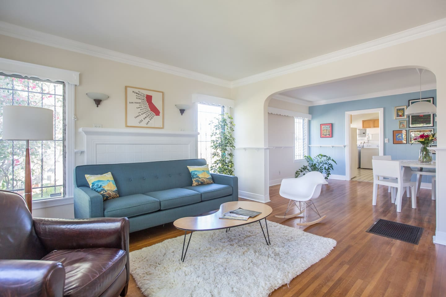 Bright and sunny living room with mid century modern touches.