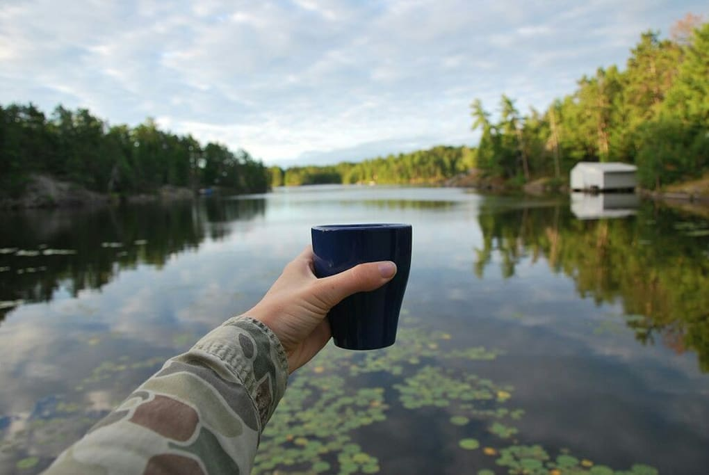 Morning coffee at the boat house.