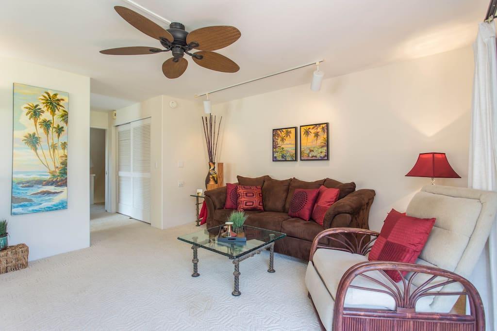 Living room is in separate wing
