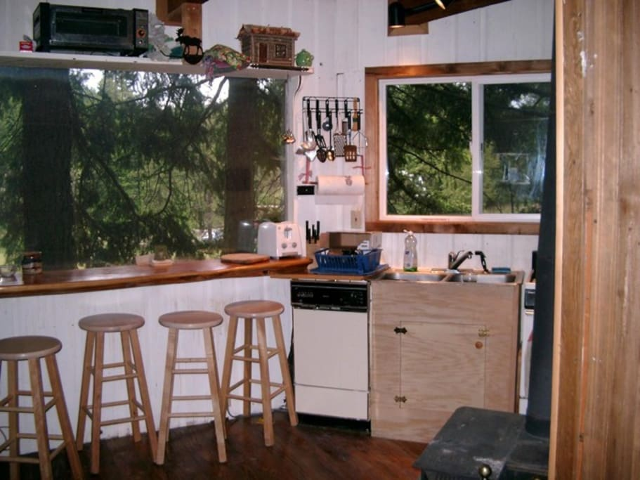 Fully equipped kitchen with filtered view of the majestic, snow-capped Mt Adams