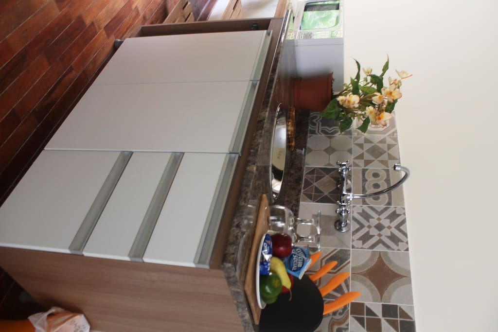 Kitchenette, a very small space equipped to be used as a kitchen.