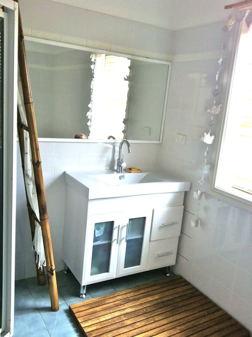 Your large bathroom has separate shower and bath