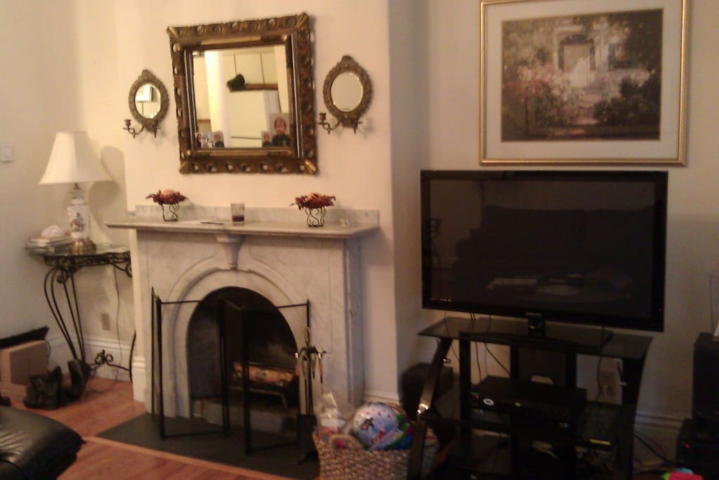 New TV and fireplace