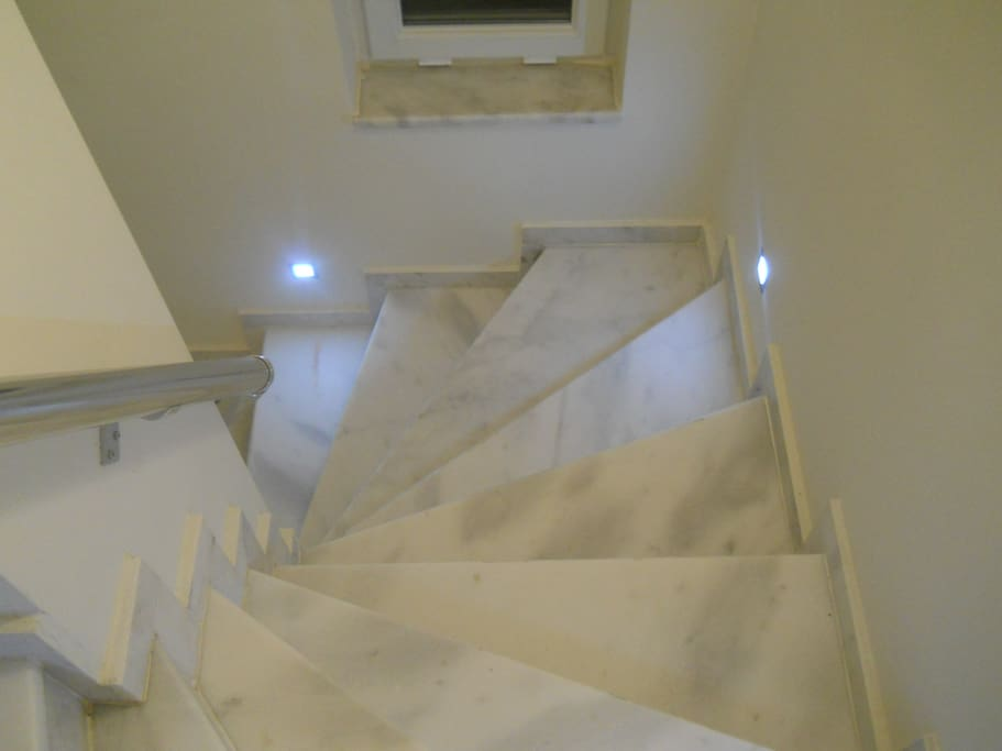 the stairs to the master bedroom