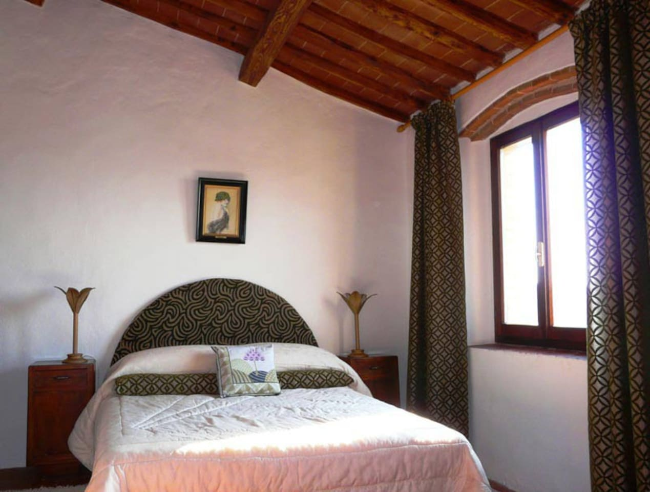 The is the West bedroom with it's stunning sunset views. You can see all the way to Pisa!