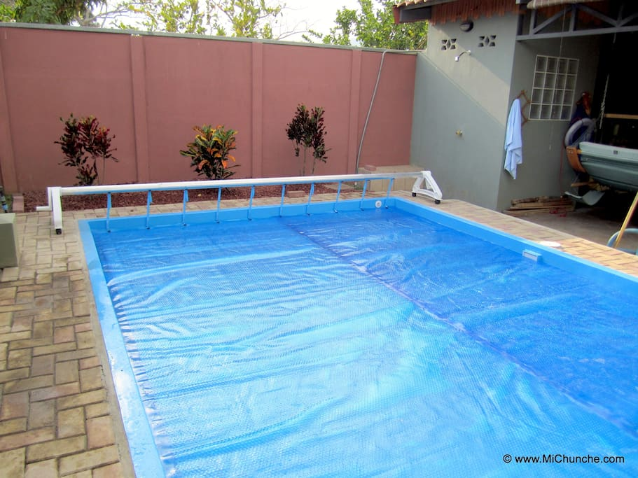 Our pool has a solar blanket which keeps the water temperature between 28°C to 32°C (84°F to 90°F)