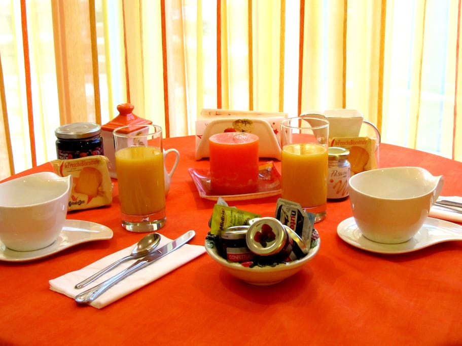 Breakfast served directly in the room