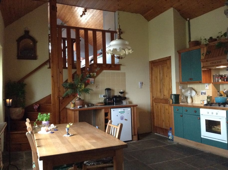 The kitchen and the loft.