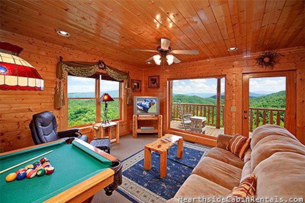 The game room downstairs has great views of the mountains as well.