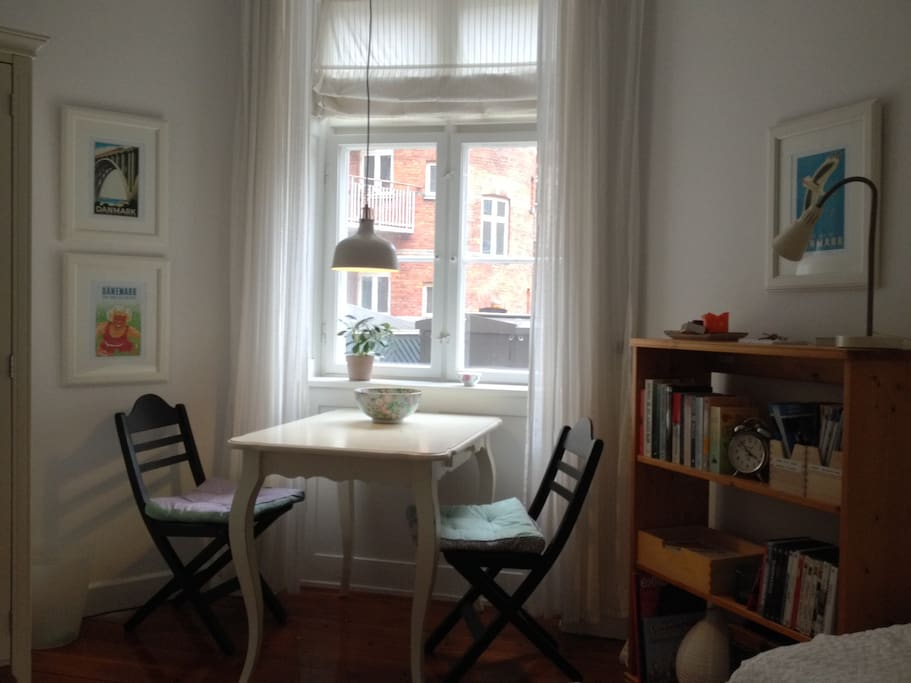 In the room you have a small table where you can have your meals.