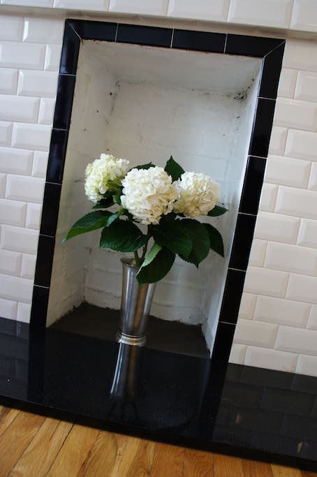 Silver plated vase to fill up with your favorite flowers.  Here are a bouquet of Hydrangeas from the local flower shop!