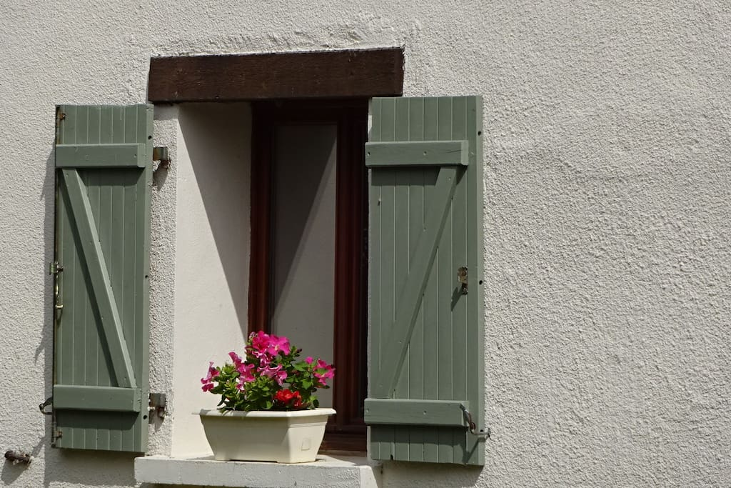 with the original French shutters.