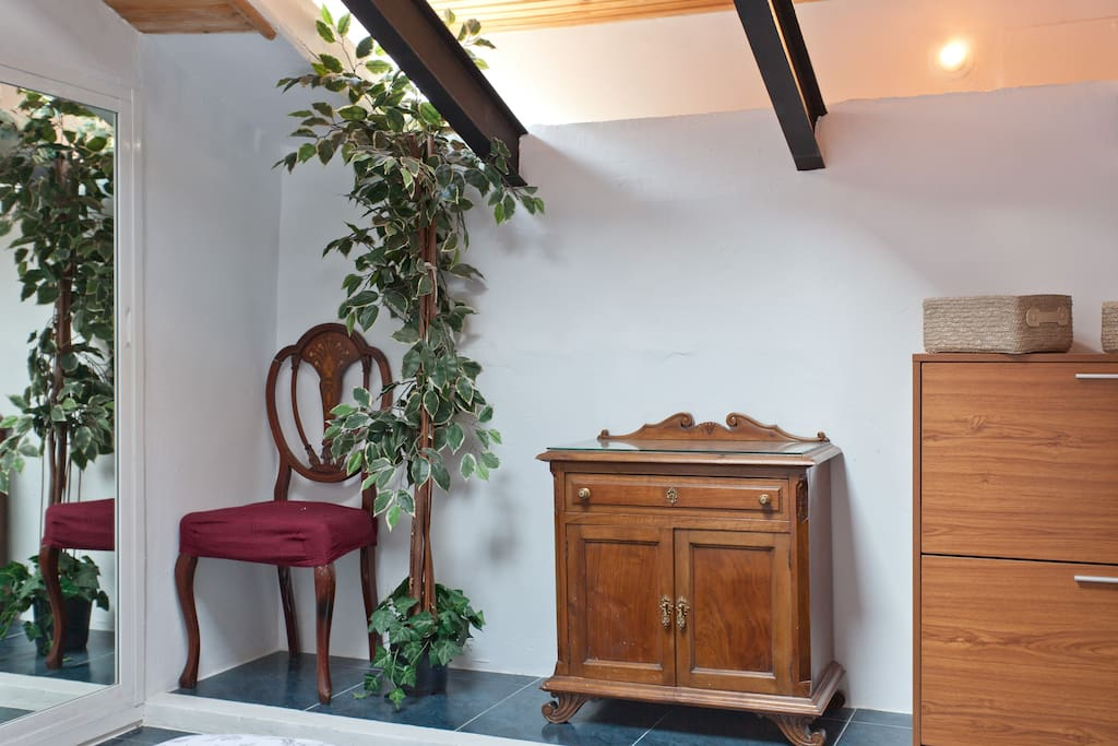 Antique chair with skylight above