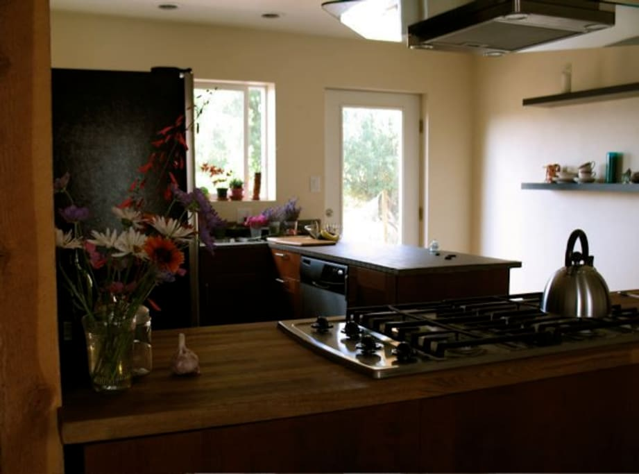 Kitchen is small, simple. Has usual items such as microwave, dishwasher, blender, toaster (no toaster oven), coffee grinder, coffeemakers including pourover, french press, and a conventional drip machine if wanted.