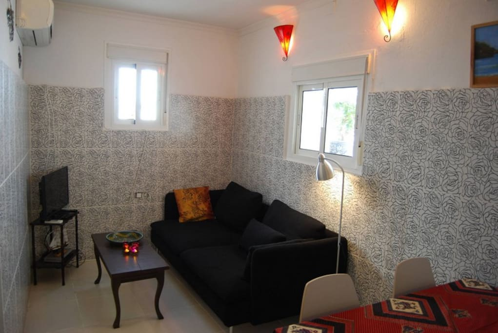 El salon en la planta baja con sofa-cama/The livingroom downstairs with a sofa-bed