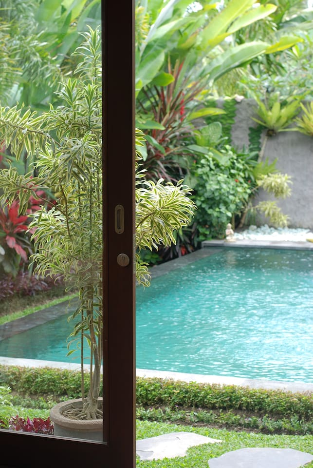 View of the pool from inside your room